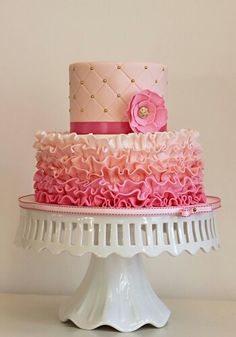This might be the cake, @Jill Meyers Comeau  Pink and gold cake @Lynn Fleming what do you think of the colors for blush ombre?