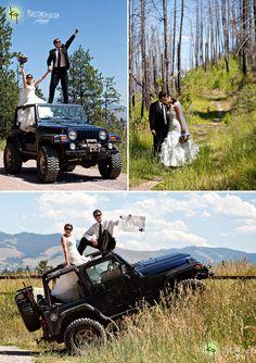 Great wedding portrait location shot with their Jeep 4x4!
