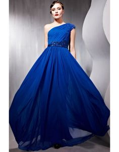 Blue one shoulder long length tencel pageant dress with belt  US$148.00