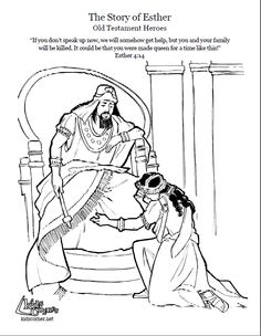 Story of Esther.  Coloring page, script and Bbile story. http://kidscorner.reframemedia.com/bible/stories/the-story-of-esther/