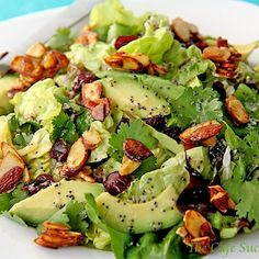 Cranberry-Avocado Salad with Candied Spiced Almonds and Sweet White Balsamic Vinaigrette Recipe | Key Ingredient