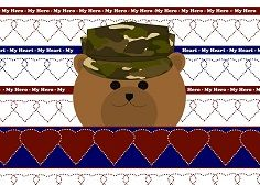 """Is your #MilHero the Hero of Your Heart?    """"Hero of My Heart"""" Design for your dad, mom, sister, brother, son, daughter,  cousin or friend.  : )     Inside the card says - Happy Valentine's Day to the Hero of My Heart!  My New Military Life's Moments Valentine designs come in 34 different U.S. military similar uniform choices. Click to see all options in my Cafe Press shop."""
