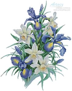 Artecy Cross Stitch. Irises Painting Cross Stitch Pattern to print online.