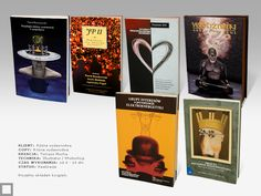 Projects the book covers for different publishers.