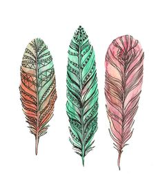 Feather Art - Three Feathers - Feather Watercolor Art. $20.00, via Etsy.