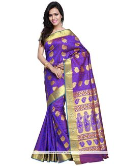 You can be confident to make a powerful style statement with this purple art silk traditional  saree. This stunning attire is displaying some incredible embroidery done with weaving work. Comes with m...