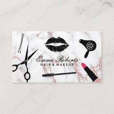 Makeup Artist Hair Stylist Rose Gold Marble Business Card Salon Business Cards, Hairstylist Business Cards, Makeup Artist Business Cards, Business Card Design, Makeup Artist Logo, Visiting Card Design, Rose Gold Marble, Business Hairstyles, Artist Card