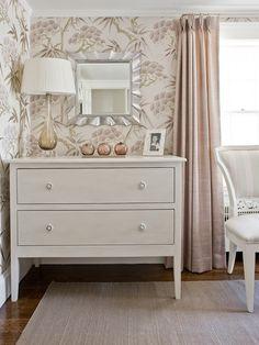 wallpaper + blush window panels