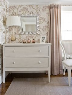 wallpaper + blush window panels. Like the soft colors.