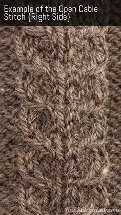 how to knit the Open Cable Stitch Right Side
