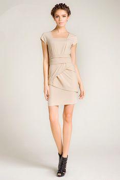 Kate Middleton Cap Sleeve Wrap Hem Dress  by OASAP