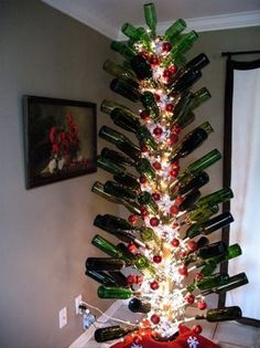 Bottle Christmas Decoration These 15 Beer And Wine Inspired Diy #christmas Decorations Make