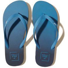 e0504dc795c8 Hollister Logo Flip Flops (15 BRL) ❤ liked on Polyvore featuring men s  fashion