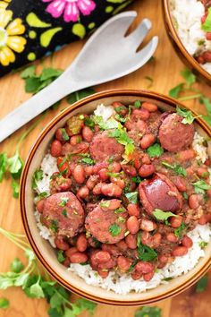 Instant Pot Red Beans and Rice With Sausage is a flavor packed, spicy New Orleans traditional meal. This pressure cooker Red Beans and Rice dish has lots of flavor, and you can make it from dry beans in just over an hour!