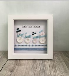 Framed Picture – Snowman Button Family