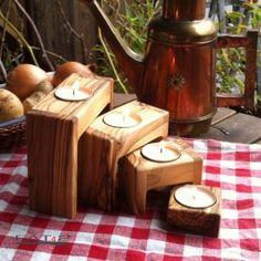 #Moderner #Teelichthalter aus #Olivenholz