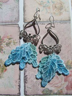 Lace leaves earrings on silver plated flower chanderliers with sterling silver earwires - Grace By  DaisyLaceDesigns. For sale on Etsy -£15.00