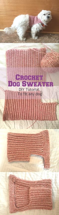 This Crochet Dog Sweater is really simple to make and can be made to fit ANY size dog! Get the free crochet pattern tutorial right here,