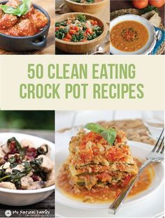 50 Healthy Clean Eating Crock Pot Recipes - fix and forget it meals in slow cooker perfect for busy families and for when weather gets colder Slow Cooker Recipes, Paleo Recipes, Whole Food Recipes, Cooking Recipes, Crockpot Meals, Freezer Meals, Healthy Cooking, Healthy Eating, Healthy Treats