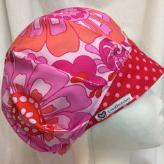 22415e105ba Hipster Floral Pink Red Bouffant Scrub Hat
