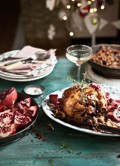 Merry Christmas Meal (via What Katie Ate) Pomegranate Roast Chicken with Cherry, Nut, Orange and Herb Stuffing Herb Stuffing, Stuffing Recipes, What Katie Ate, Carnivore, Grenade, Roast Chicken, Mets, Kraut, Chicken Recipes
