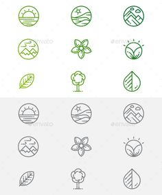 Buy Nature and Green Icons by on GraphicRiver. All items are well organized. Corporate Design, Branding Design, Logo Design Inspiration, Icon Design, Typography Logo, Logos, Ecology Design, Coffee Icon, Shirt Print Design