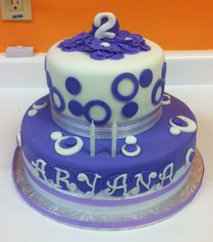 """Oh my...How time flies when you are having fun! It just seemed like it was yesterday that I made this cutie pie's """"Welcome Baby"""" Pottery Barn Cake!  Princess Aryana turned the big """"2"""" today with her friends and family at """"The Little Gym"""" it was good fun, good food and a lot of cake"""". The love for purple and polka dots"""" is the theme and that's what I made for this cutie pie! A two tier cake made with a lovely shade of lavender, polka dots and of course... love! Happy Birthday Aryana…"""