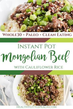A spin on the traditional takeout Mongolian Beef that is Whole30, and Paleo compliant. #whole30 #paleo #whole30recipes #paleorecipes #healthyrecipes #instantpotrecipes