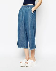 Enlarge Monki Raw Edge Denim Culotte