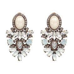 Red Apple Sparkle Oval Rhinestone & Crystal Studded Drop Earrings