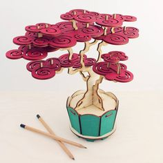 I've just found Flat Packed Cherry Bonsai Tree Kit. A flat packed bonsai tree kit with instructions for self assembly. Creative enjoyment resulting in a beautiful, maintenance-free Prunus Cerasifera (cherry) bonsai. Laser Cutter Ideas, Laser Cutter Projects, Cnc Projects, 3d Laser, Laser Cut Wood, Laser Cutting, Cherry Bonsai, Diy And Crafts, Paper Crafts