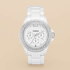 in my dreams! $$$  FOSSIL® Watch Styles Ceramic:Women Riley Ceramic Watch - White with Stones CE1010