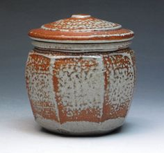 Phil Rogers  Salt Fired Faceted Jar, World Renowned Ceramic Artist Phil Rogers, Studio Pottery Jar