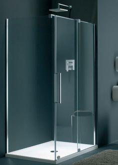 Shower cubicle with sliding door. Lake Bathroom, Master Bathroom, Bathrooms, Bathroom Ideas, Frameless Sliding Shower Doors, Sliding Doors, Corner Shower Enclosures, Tall Cabinet Storage, Locker Storage