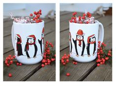 company for your hot cocoa! Penguins, Cocoa, Mugs, Tableware, Hot, Dinnerware, Tumblers, Tablewares, Penguin