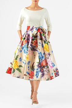 I really need something that makes me look like a 50s housewife. Floral print dupioni mixed media dress - eShakti