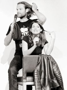 The Padaleckis. They're both doing the hair thing!! It's so cute!!