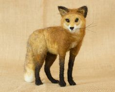 Caroline the Red Fox: Needle felted animal sculpture by The Woolen Wagon