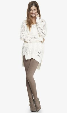Open Stitch Tunic Sweater with Sexy Stretch Heathered Ankle Legging. Love the sweater.