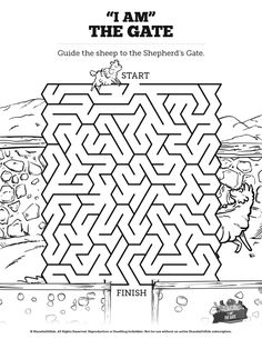 John 10 I am the Door Bible Mazes: Featuring the beautiful artwork of John 10, this Kids Bible Maze is perfect for your upcoming I am the Door Sunday School lesson. With just enough challenge to make it fun this printable kids Bible activity is sure to be a hit with your class.