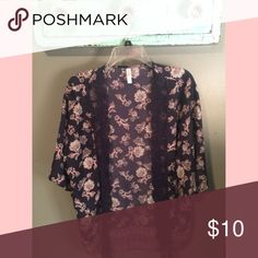 Super cute navy/pink kimono with lace accents/xs💕 Super cute navy & pink kimono with lace accents//xs//no trades//offers welcome 💕 Tops Blouses