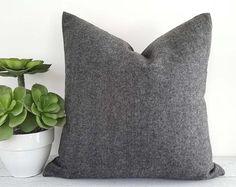 Grey Herringbone Pillow Covers, Grey Tweed Pillow, Wool Textured Pillows, Man Cave Pillows, Mens Throw Pillows, Lumbar 14x20, 18x18, 20x20