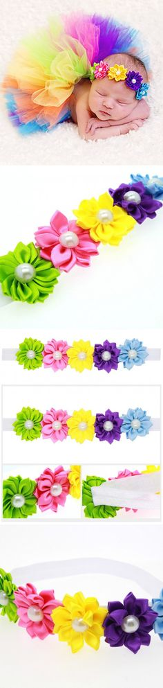 2016 New 5 colors Flower Hair Band Headband Baby Hair Accessories Children Accessories Girls Wedding Hair Accessories $1.32