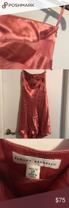 Banana Republic salmon pink High low silk dress Super stunning this picture does not do it justice. High low  style banana republic salmon pink 100% silk dress. Worn once in like new condition Banana Republic Dresses High Low