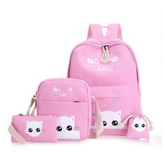 5cf8f07f6908 Gray cat backpacks for girl pink print anamals bagpack for school casual  crossbody phone set bags coin holder string bag WM111YL