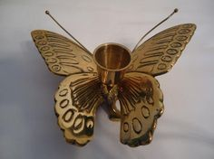 Vintage Solid Brass Butterfly Candle Holder