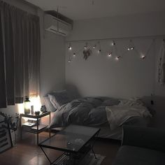 One room apartment, aesthetic rooms, small room bedroom, cozy room, bed