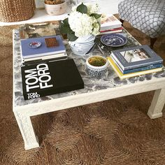 via - coffee table - vintage Henredon - refurbished Coffee Table Styling, Serving Table, Wooden Tops, Affordable Home Decor, Upholstered Furniture, Cocktail Tables, Decoration, Interior Decorating, Interior Styling
