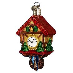 "Cuckoo Clock Christmas Ornament 32033 Merck Family's Old World Christmas Ornament measures approximately 3 1/2"", made of mouth blown, hand painted glass. The Cuckoo Clock's"