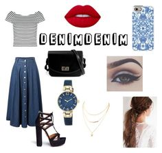 """Denim_D"" by ehlimana-alihodzic ❤ liked on Polyvore featuring Lipsy, Aquazzura, Anne Klein, Casetify, Lime Crime and Bellezza"